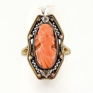 Art Nouveau Diamond & Coral 10K Ring